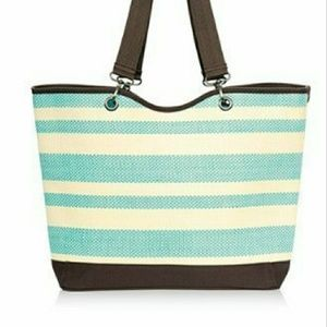 Thirty One Canvas Crew Tote Mini, Turquoise Straw